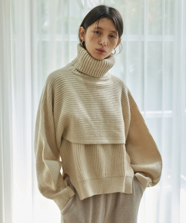 [TMO BY 13MONTH] CROPPED TURTLENECK SWEATER SET / クロップドタートルネック セーターセット
