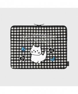 [EARPEARP] チェック オーサムキャット(13インチ ノートブックポーチ)  / Awesome cat check (13inch notebook pouch)