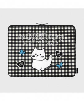 [EARPEARP] チェック オーサムキャット(15インチ ノートブックポーチ)  / Awesome cat check (15inch notebook pouch)