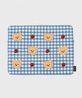 [EARPEARP] ドットストロベリー チェック(15インチ ノートブックポーチ)  / Dot strawberry check (15inch notebook pouch)