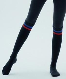 [CIENNA] カラー2ライン リブオーバーニーソックス / color 2line over knee socks