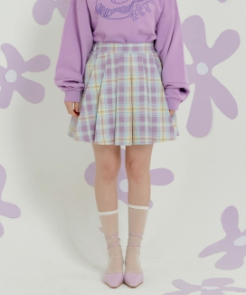 [ZEROSTREET] チェックプリーツスカート[PURPLE] / CHECK PLEATS SKIRT [PURPLE]