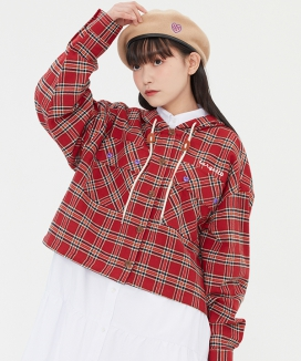 [TARGETTO] チェックフーディシャツ / CHECK HOODIE SHIRTS
