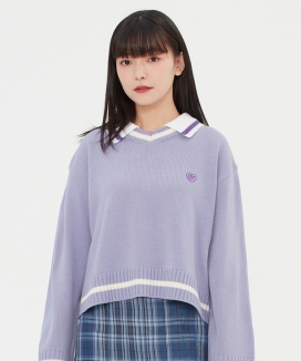 [TARGETTO] カラーVネックニット / COLLAR V NECK KNIT