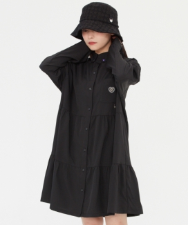 [TARGETTO] シャーリングシャツワンピース / SHIRRING SHIRTS ONEPIECE