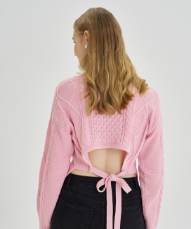 [LETTER FROM MOON] バックオープン ツイストボレロセーター / Back Open Twist Volero Sweater