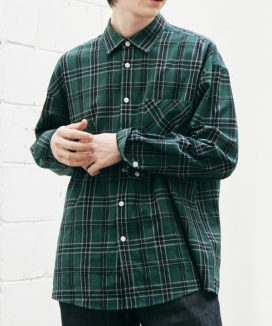 [Diamond Layla] リニューアルグリーンチェックシャツ(S77) / Renewal Green Check Shirt S77