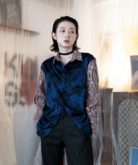 [JORENZ CARTIESS] エスニックレオパード ペイズリーシャツ / Ethnic Layered Paisley Shirt