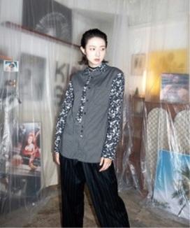 [JORENZ CARTIESS] ブラックストライプ ジャカードシャツ / Black striped jacquard shirt
