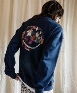 [JORENZ CARTIESS] オーバーサイズフィット スマイルスウェットシャツ(ネイビー) / Navy oversized-fit smile sweatshirt