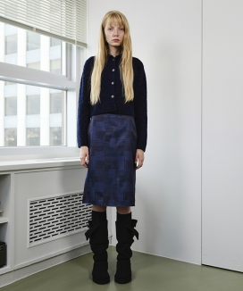 [ENZO BLUES] シルキーミックスパターンスカート / Silky Mixed Pattern skirt