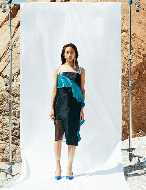 [NINEONETWO] Asymmetric Drapered Panel Dress