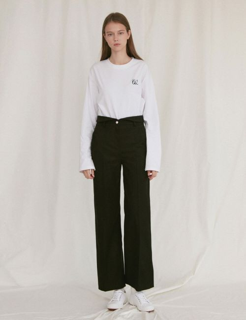[oioi] PEARL BUTTON WIDE PANTS