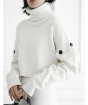 [ulkin] UL:KIN COLLECTION LABEL_BUTTON SLEEVE CROPPED KNIT