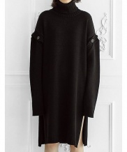 [ulkin] UL:KIN COLLECTION LABEL_BUTTON SLEEVE TURTLENECK KNIT DRESS