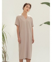 [NOTA] V-NECK BACK EMBROIDERY LONG DRESS