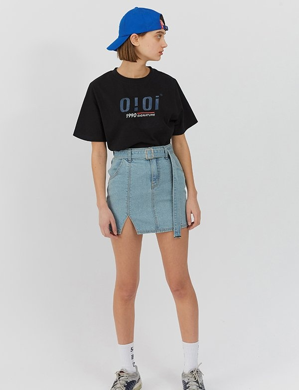 [5252] SQUARE BELT STITCH DENIM SKIRTS
