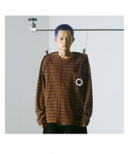 [MUTEMENT] STRIPE HOLE POCKET T-SHIRTS