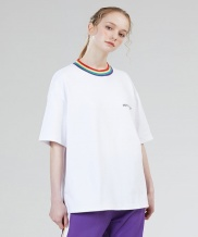 [motivestreet] RAINBOW NECK POINT TEE