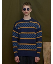 [UNALLOYED] CHECKER STRIPE KNIT