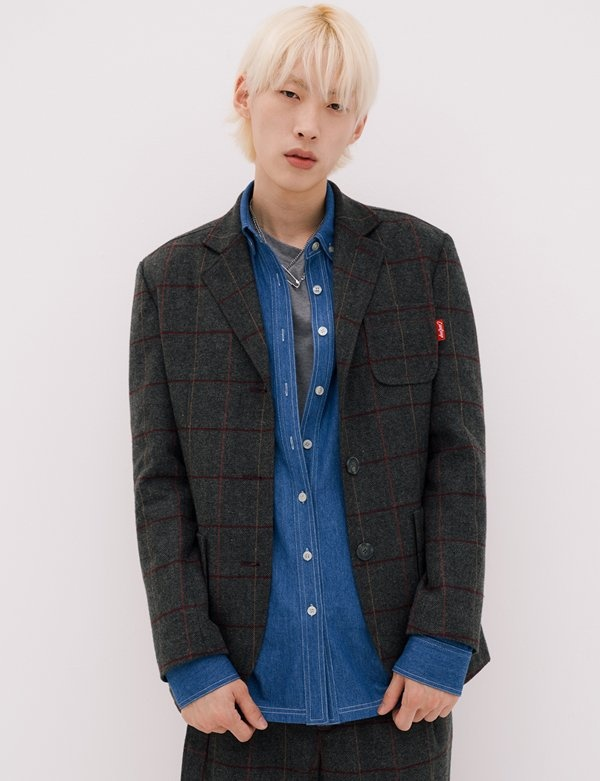 [CANLEAP] UNISEX CHECK OVERFIT WOOL JACKET