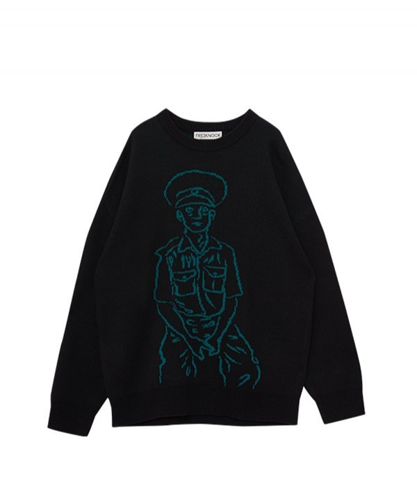[FREIKNOCK] POLICE MAN DRAWING KNIT PULLOVER