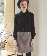 [INES] CHECK WOOL SKIRT