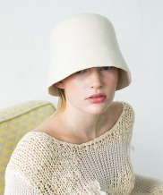 [AWESOME NEEDS] LAMBS WOOL HALF ROUND BUCKET HAT
