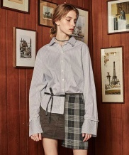 [VITALSIGN] Suede and Check Short Skirt