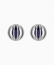 [090FACTORY] [Silver] Colored globe Earring (Navy, Green, Gold)