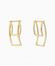 [090FACTORY] [Silver] Folded tape Earring (Silver, Gold)