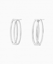 [090FACTORY] [Silver] Round tape Earring (Silver, Gold)