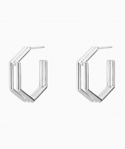 [090FACTORY] [Silver] Hexagon lines Earring (Silver, Gold)