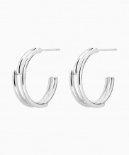 [090FACTORY] [Silver] Circle lines Earring (Silver, Gold)