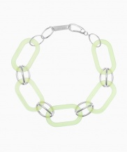 [090FACTORY] [Silver] Oval connection Bracelet (Navy, Green, White)