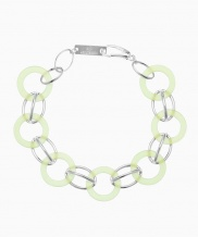 [090FACTORY] [Silver] Circle connection Bracelet (Navy, Green, White)