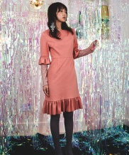 [Sorry, Too Much Love] Lace Shrring Wool Dress