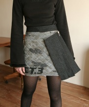 [Oct.3] CAMOUFLAGE QUILTING PLEATS SKIRT