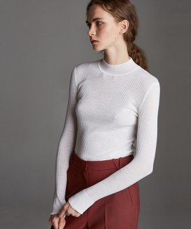 [True Ouahsommet] HALF-NECK SLIM WOOL KNIT