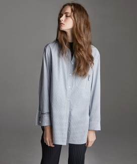 [True Ouahsommet] EMBROIDERY COTTON LONG SHIRTS