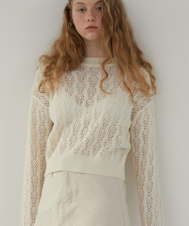 [DIAGONAL] PUNCHING LACE KNIT