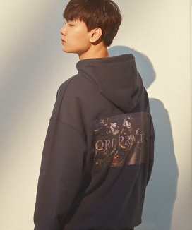 [PRAIRIE] NOBLE EMBROIDERY HOODY SWEAT SHIRT