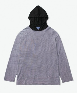 [LAYER UNION] ESS STRIPE HOODED L/S TEE