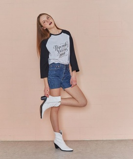 [RSVP] CROPPED SLEEVE RAGLAN T-SHIRT