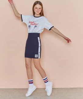 [RSVP] SIDE BUTTON JERSEY MINI DRESS