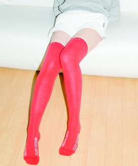 [CLUTSTUDIO] heart logo over knee socks