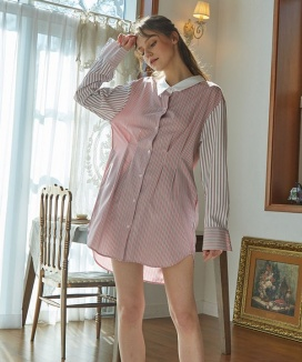 [HASHTAG 9] Oversize Stripe Feburic Color One-Piece