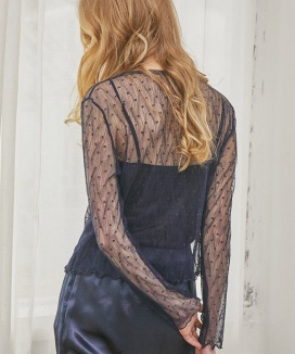 [Sorry, Too Much Love] Dot Lace Seethrough Top