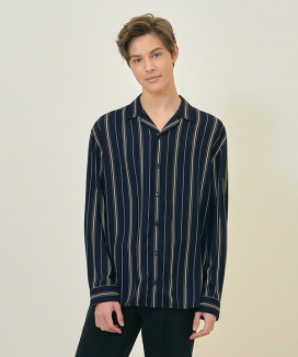 [CLIF] STRIPE OPEN COLLAR SHIRT