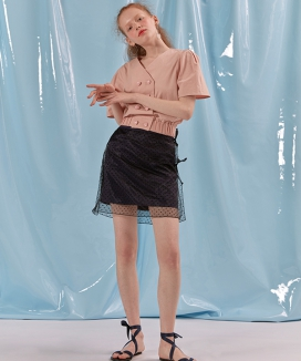 [oioi] SHEER SATIN SKIRT